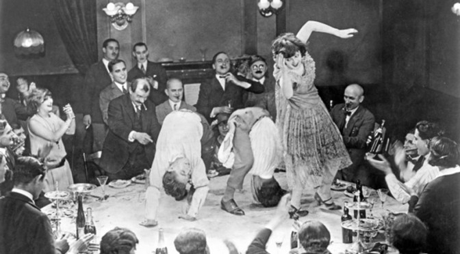 Crazy circus party from the German silent film Variete, 1925.